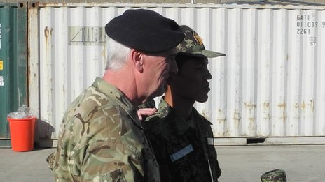 Brig Gen Maurice Sheen and an Afghan recruit (pic: David Loyn)