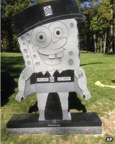 Kimberly Walker's gravestone in the likeness of popular cartoon character SpongeBob SquarePants 10 October 2013