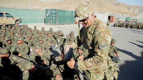 Australian instructor teaching Afghan recruits (pic: David Loyn)