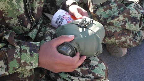 Afghan officer cadet with new water bottle (pic: David Loyn)