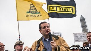 Senator Ted Cruz speaks at a Tea Party rally on October 13, 2013