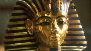 Tutankhamun's gold and blue death mask - now in the Egyptian Museum, Cairo