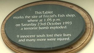Plaque commemorating Shankill bombing victims