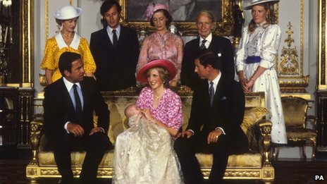 Prince and Princess of Wales with Prince William and his godparents