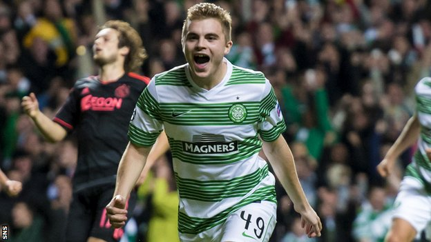 James Forrest celebrates scoring the opener for Celtic from the penalty spot