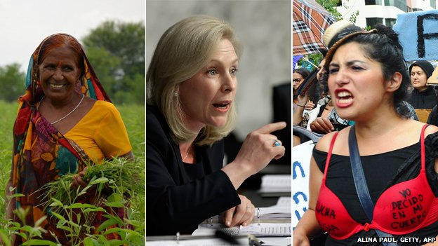 Woman in a field, senator Kirsten Gillibrand and a feminist protester