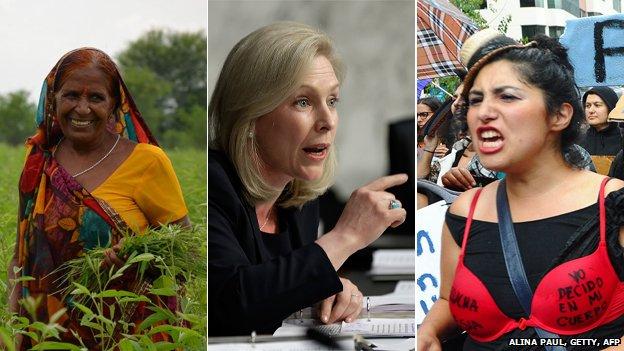 Woman in a field, senator Kirsten Gillibrand and a feminist protester