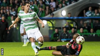 Beram Kayal scores for Celtic against Ajax