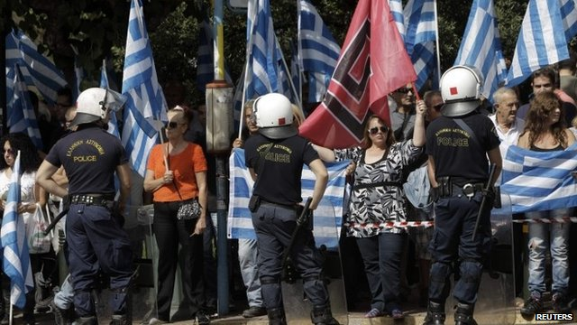 Golden Dawn supporters - file photograph