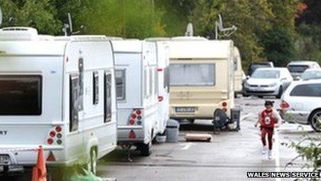 Caravans parked in the Royal Gwent staff car park