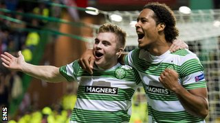 James Forrest and Virgil van Dijk celebrate