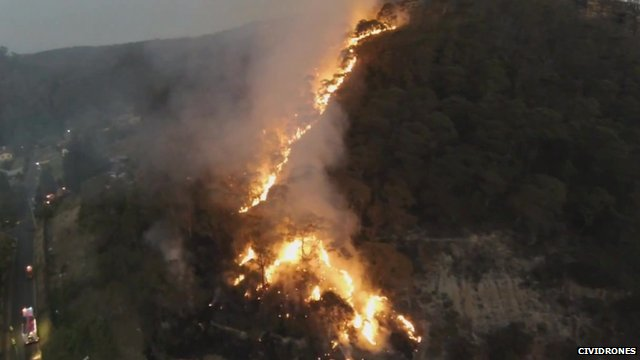 Fires burning in Lithgow - courtesy CiviDrones