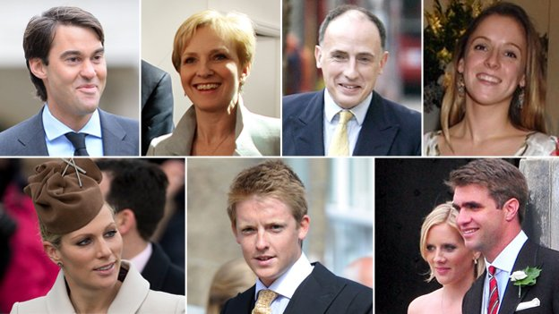Individual pictures of William van Cutsem, Julia Samuel, Jamie Lowther-Pinkerton, Emilia Jardine-Paterson, Zara Tindall, Earl Grosvenor and Oliver Baker