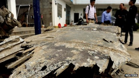 The remains of a fighter plane salvaged by Chinese fishermen