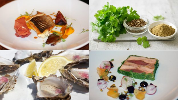 Seabass with fig and serrano ham; coriander; game and goose liver terrine; oysters