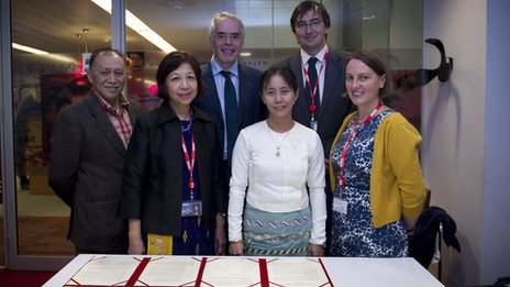 Myint Swe and Tin Har Swe of BBC Burmese, Peter Horrocks, Moe Thuzar, Bill Hayton and Media Action's Kathryn Tomlinson mark the occasion at NBH