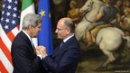US secretary of State John Kerry (left) shakes hands with Prime Minister Enrico Letta