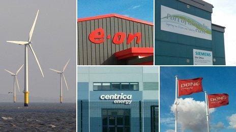 Wind turbines and offices of e.on, Siemens, Centrica and DONG