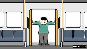 Cartoon passenger holding door open