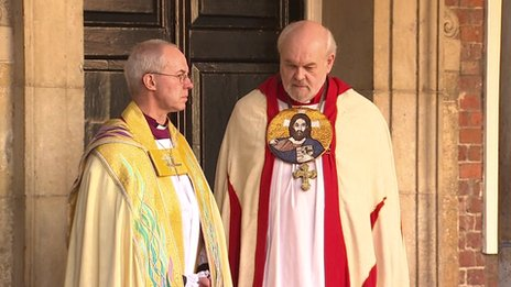 Archbishop of Canterbury Justin Welby with Bishop of London Richard Chartres