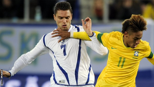 Sanel Jahic in action for Bosnia-Herzegovina