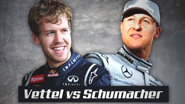 Sebastian Vettel and Michael Schumacher's Formula 1 records are compared