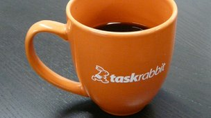 Taskrabbit logo on coffee cup