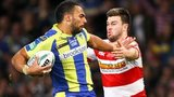 Warrington's Ryan Atkins and Wigan's Darrell Goulding