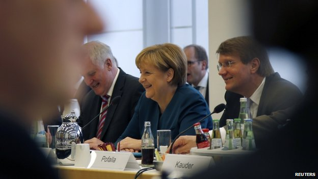 Chancellor Angela Merkel at coalition talks in Berlin, 23 October
