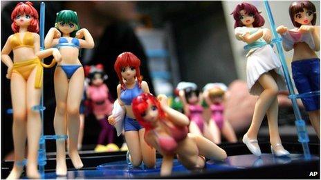 Anime figurines on sale in Akihabara