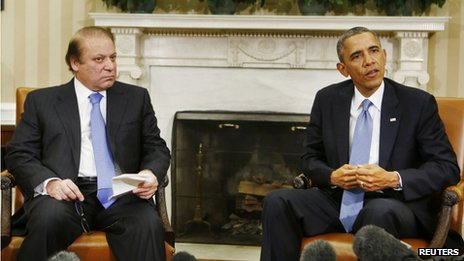 US President Barack Obama, right, met with Pakistan's Prime Minister Nawaz Sharif, right, in the White House on 23 October 2013