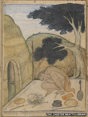 Garbhasana, a watercolour from 1600 (shows yogi)