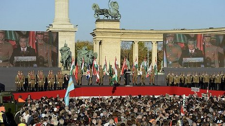 Viktor Orban addresses the crowd at Heroes Square, Budapest. 23 Oct 2013