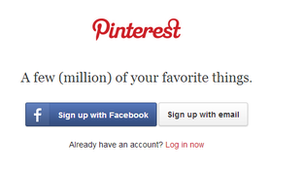 The homepage screen for Pinterest