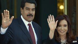 Venezuela's Nicolas Maduro and Argentina's Cristina Fernandez de Kirchner