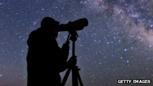 Astronomer looking at the Milky Way