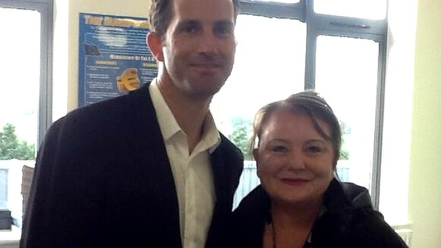 Ben Ainslie with BBC Cornwall reporter Debbie McCrory