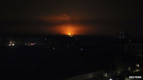Fire is seen after an attack on gas pipelines to the east of Damascus city on 23 October
