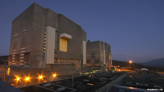 Trawsfynydd power station at night