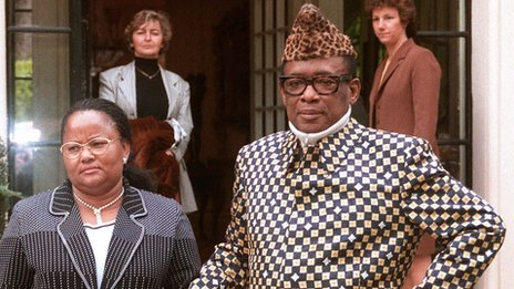 Mobutu Sese Seko (R) standing with wife in front of his villa in the southeastern French town of Roquebrune-Cap-Martin on 1 January 1997