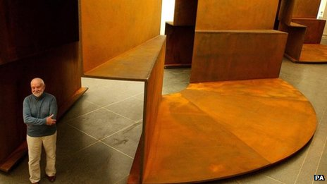 Sir Anthony Caro with his sculpture Millbank Steps 2004