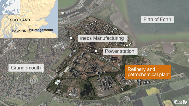 Satellite image of the Grangemouth site