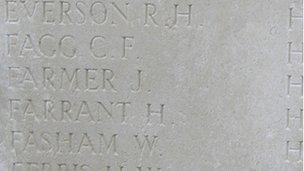 Pte Fagg's name on war memorial