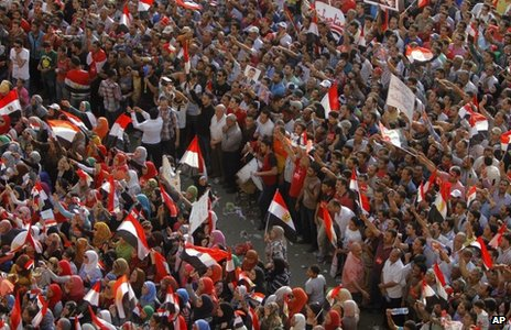 Women and men are segregated to limit sexual harassment during a protest against President Mohammed Morsi in Cairo (2 July 2013)