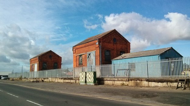 Derelict buildings at Grimsby Docks