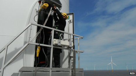 An RES engineer working on a turbine in the Lynn and Inner Dowsing wind farm