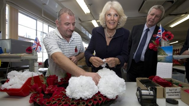 The Duchess of Cornwall working on a wreath