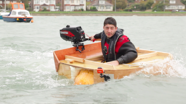 Dmitri Galitzine in his pumpkin boat