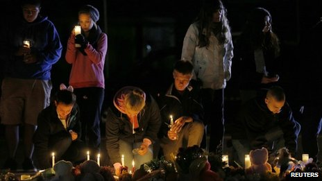 Candlelight vigil to mourn the death of Colleen Ritzer in Danvers, Massachusetts, on 23 October 2013