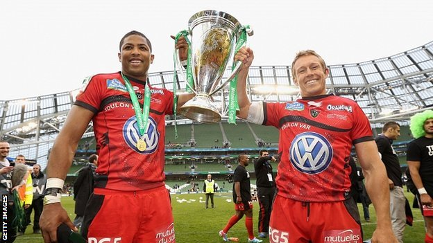 Toulon's Delon Armitage and Jonny Wilkinson